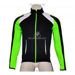 Тёплая велокуртка Crane черно-зеленая